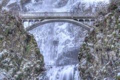Cadute di Multnomah congelate Immagini Stock