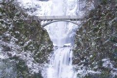 Cadute di Multnomah congelate Fotografia Stock