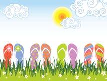Cadute di vibrazione variopinte di estate nell'erba illustrazione di stock