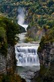 Cadute e canyon del mezzo al parco di stato di Letchworth Garden City - cascata e caduta/Autumn Colors - New York fotografie stock