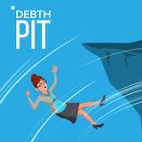 Cadute spaventate di caduta di vettore della donna di affari da The Edge della crisi del bordo della montagna, fallimento, pozzo  royalty illustrazione gratis
