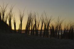 Cadzand-Sonnenuntergang Lizenzfreie Stockfotografie