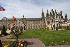 Caen. Abbey exterior and gardens Royalty Free Stock Images