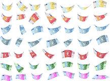 Caer billetes de banco de papel euro de imitación forma (el vector) Imágenes de archivo libres de regalías