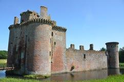 Caerlaverock城堡护城河 库存照片