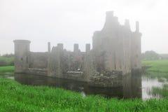 caerlaverock城堡深雾 图库摄影