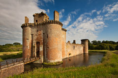 Caerlaverock Castle, Dumfries and Galloway, Scotland. Is a moated, semi-ruined castle built in the 13th century by the Maxwell family, and of a triangular Stock Photography