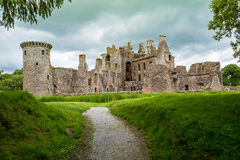 Caerlaverock Castle, Dumfries, Scotland. A view of Caerlaverock Castle near Dumfries in south west scotland. Surrounded by a double moat and hundreds of acres of Royalty Free Stock Photo