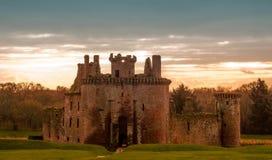 Caerlaverock castle Scotland. Sun setting at caerlaverock castle in Dumfries and Galloway scotland Royalty Free Stock Images