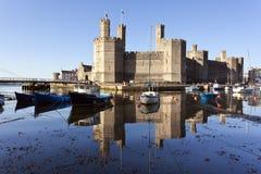 caernarfon城堡北部威尔士 库存照片