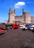 Caernarfon Castle and harbour. Royalty Free Stock Photography