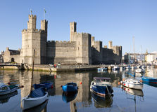 Caernarfon Castle and marina Stock Photography