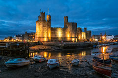 Caernarfon Castle at night Stock Photography