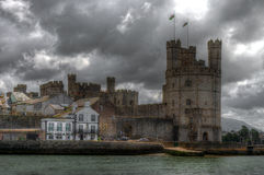 Caernarfon Castle. Seen from the harbour Royalty Free Stock Photography