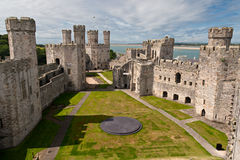 Caernarfon castle in Snowdonia, Royalty Free Stock Images