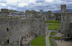 Caernarfon Castle, Wales, United Kingdom. Caernarfon is architecturally one of the most impressive of all of the castles in Wales. Caernarfon is located at the stock image