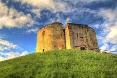 Cliffords Tower. York, UK. Its the stunning view you get of the historic city of York that makes Cliffords Tower one of the most popular attractions in Royalty Free Stock Photo