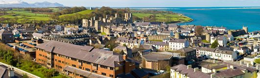 Caernarfon, Wales. Town of Caernarfon and its Welsh castle, Wales, UK Stock Images