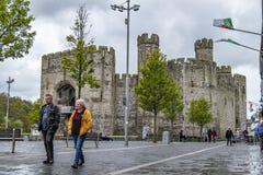 Caernarfon Wales - May 01 2018 : Caernarfon on a windy day in the rain stock photo