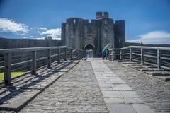Caerphilly城堡入口 库存图片