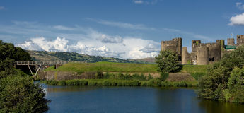 caerphilly城堡南英国威尔士 库存照片