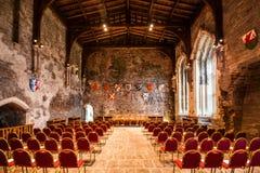 Caerphilly城堡的大厅的内部 免版税图库摄影