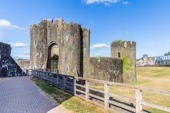 Caerphilly城堡,威尔士 免版税库存照片