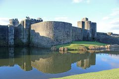 Caerphilly Castle, Ουαλία Στοκ φωτογραφία με δικαίωμα ελεύθερης χρήσης