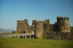 Caerphilly castle. With grass, horizontally framed shot royalty free stock photos