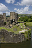 Caerphilly Castle. The ruins of Caerphilly Castle, Wales, United Kingdom royalty free stock photography