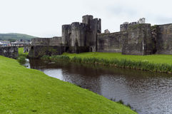 Caerphilly castle and bridge Royalty Free Stock Photos