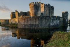 Caerphilly castle in South Wales Royalty Free Stock Images