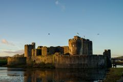 Caerphilly castle in South Wales Royalty Free Stock Photos