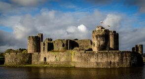 Caerphilly Castle in South Wales royalty free stock photo