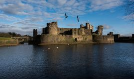 Caerphilly Castle. From the southern side including the leaning tower and the southern moat Royalty Free Stock Photos