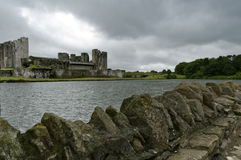 Caerphilly castle under threatening sky Stock Photos