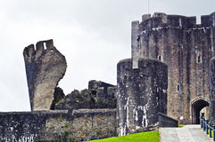 Caerphilly Castle Wales. Caerphilly castle entrance and leaning tower stock image