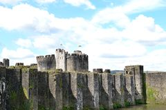 Caerphilly castle in Wales Royalty Free Stock Photos