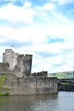 Caerphilly castle in Wales Stock Photo