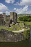 Caerphilly Schloss lizenzfreie stockfotografie