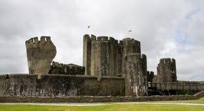 Caerphilly Schloss in Südwales, Großbritannien Stockbild
