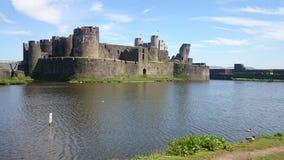 Caerphilly Schloss Wales stockbilder