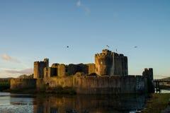 Caerphilly slott i södra Wales Royaltyfria Foton