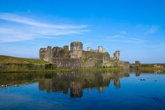 Caerphilly slott, södra Wales, UK arkivfoto