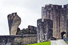 Caerphilly slott Wales Fotografering för Bildbyråer