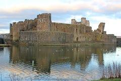 Caerphilly slott, Wales Arkivbild