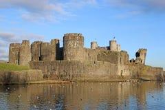 Caerphilly slott, Wales Royaltyfri Foto