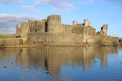 Caerphilly slott, Wales Arkivfoton