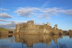 Caerphilly slott, Wales Arkivfoto