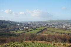 Caerphilly. View over caerphilly from the hills Royalty Free Stock Photo
